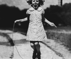 black and white, scary, and girl image