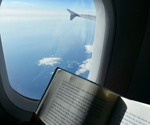 airplane, reading, and clouds image