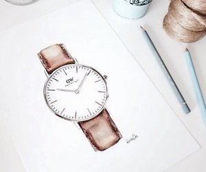 art, watch, and drawing image
