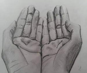 black and white, hands, and drawing image