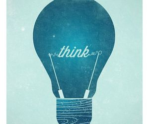blue, lightbulb, and think image