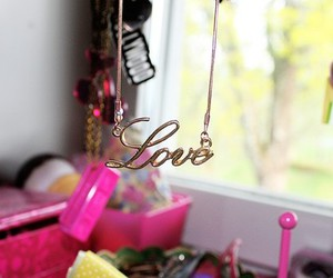 necklace, pink, and love image
