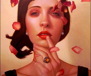red, rose petals, and Tattoos image