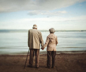 clouds, old couple, and sea image