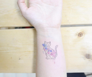 cat, tattoo, and watercolor image