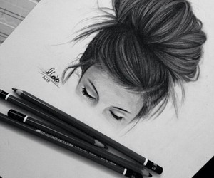 drawing, art, and hair image