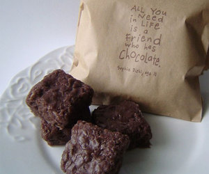 chocolate, friends, and brownies image