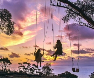 summer, friends, and sunset image