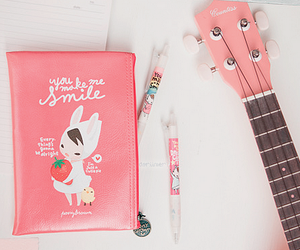 cute, pink, and guitar image
