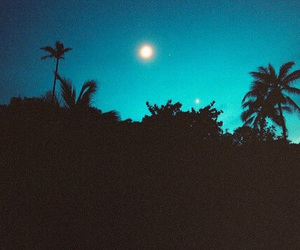 night, moon, and blue image