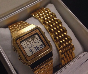 watch, casio, and gold image