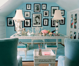 blue, office, and interior image