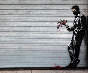 art, BANKSY, and flowers image