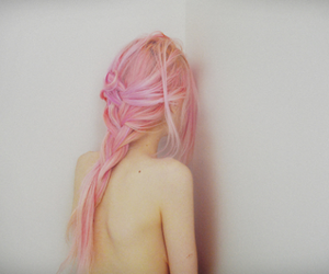 cabelo, hair, and pink image