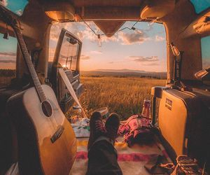 travel, guitar, and sunset image