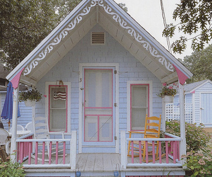 house, pink, and blue image