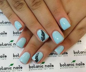blue, nails, and black feather image