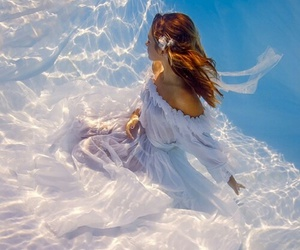 dress, flowers, and underwater image