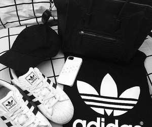 adidas, white aesthetic, and black and white aesthetic image