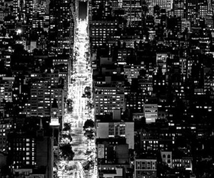 black and white, city, and night image