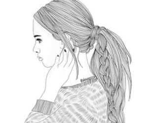 girl, outline, and draw image