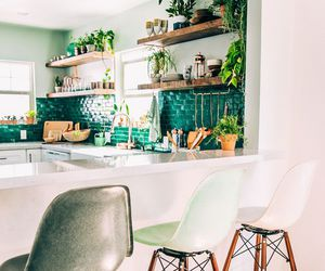 green, kitchen, and white image