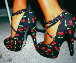 shoes, cherry, and high heels image