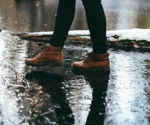 rain, shoes, and fall image