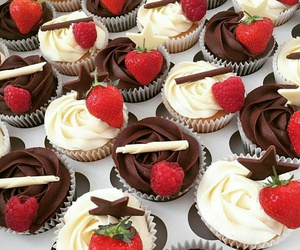 chocolate, strawberry, and cupcake image
