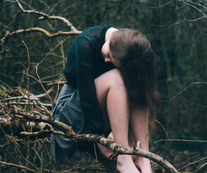 girl, forest, and sad image