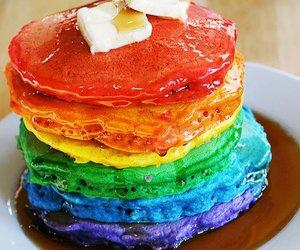 pancakes, rainbow, and food image