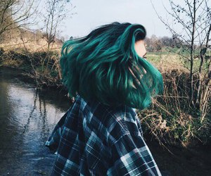 hair, green, and grunge image