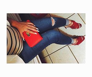 beauty, denim, and heels image