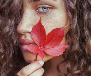 beauty, girl, and leaf image