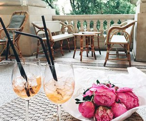 drinks, flowers, and peonies image