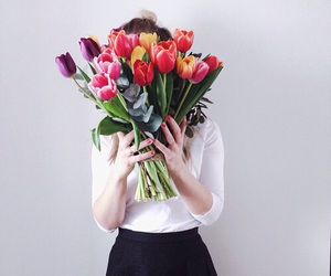 flowers, tulips, and girl image