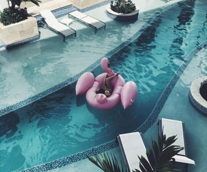 pool, summer, and pink image