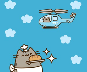 pusheen, blue, and cat image