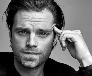 sebastian stan, winter soldier, and black and white image