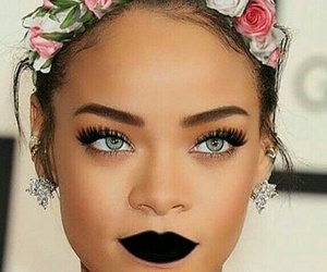 rihanna, eyes, and flowers image