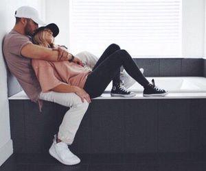 bedroom, couple, and hug image