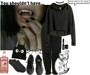 black, indie, and Polyvore image