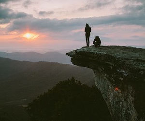 photography, mountain cliff, and sunset image