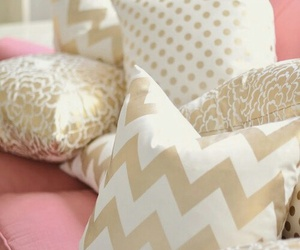 pink, pillow, and gold image