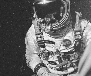 astronaut, space, and black and white image