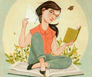 summer, books, and illustration image