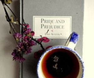 book, tea, and pride and prejudice image