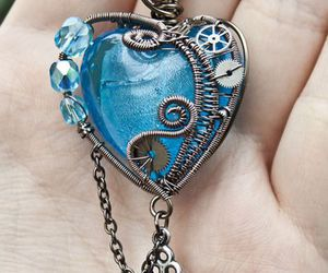 heart, blue, and necklace image