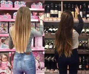 girl, black, and pink image
