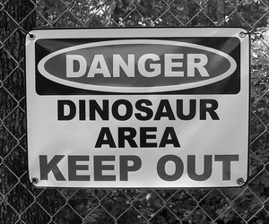 dinosaur, danger, and keep out image